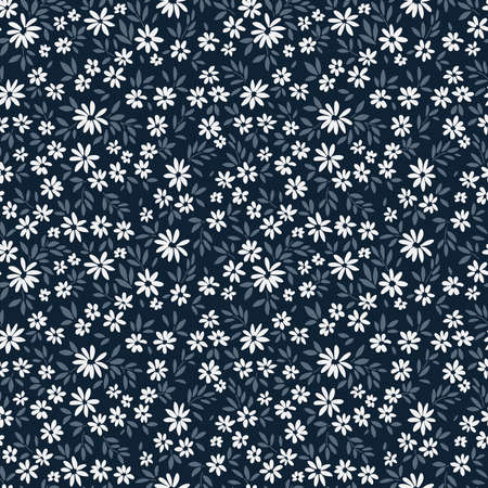 Cute floral pattern in the small flowers. Ditsy print. Motifs scattered random. Seamless vector texture. Elegant template for fashion prints. Dark blue background.