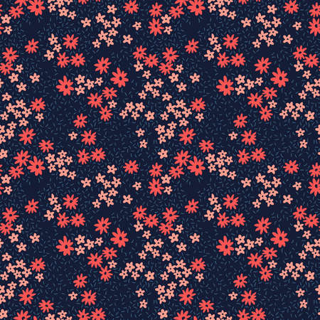 Cute floral pattern in the small flower. Ditsy print. Motifs scattered random. Seamless vector texture. Elegant template for fashion prints. Printing with small pink an flowers. Dark blue background.