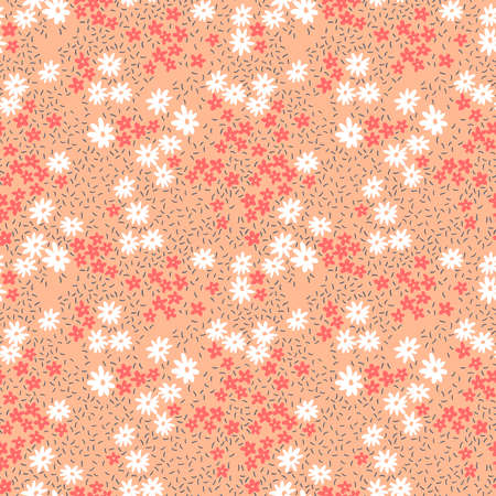 Elegant floral pattern in small white and red flowers. Liberty style. Floral seamless background for fashion prints. Ditsy print. Seamless vector texture. Spring bouquet.