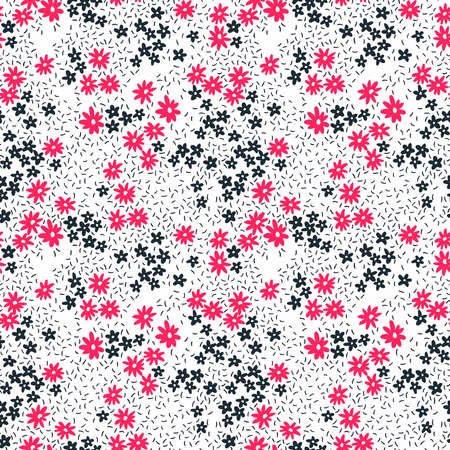 Floral pattern. Pretty flowers on white background. Printing with small pink and black flowers. Ditsy print. Seamless vector texture. Spring bouquet. 矢量图像