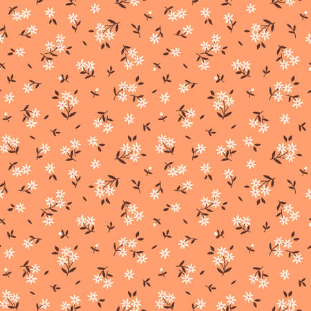Cute floral pattern in the small flower. Ditsy print. Motifs scattered random. Seamless vector texture. Elegant template for fashion prints. Printing with small white flowers. Light orange background.