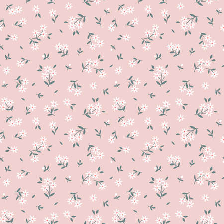 Elegant floral pattern in small white flowers. Liberty style. Floral seamless background for fashion prints. Vintage print. Seamless vector texture. 矢量图像