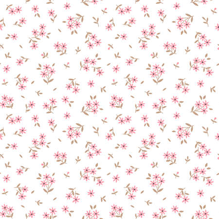 Cute floral pattern in the small flowers. Ditsy print. Seamless vector texture. Elegant template for fashion prints. Printing with small pink flowers. White background. Ilustração Vetorial
