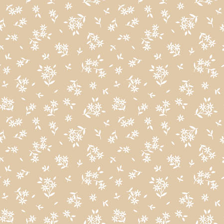 Simple cute pattern in small white flowers on beige background. Liberty style. Ditsy print. Floral seamless background. The elegant the template for fashion prints. 矢量图像