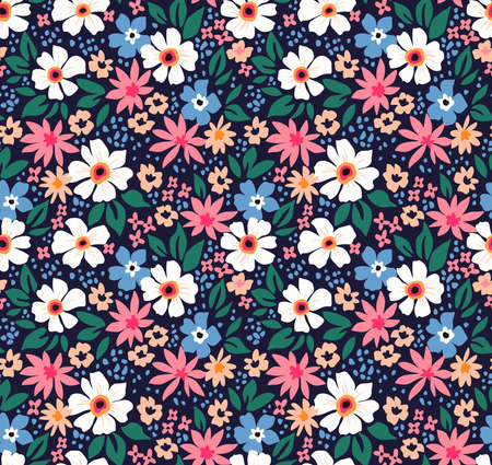 Elegant floral pattern in small white, light blue and pink flowers. Liberty style. Floral seamless background for fashion prints. Ditsy print. Seamless vector texture. Spring bouquet.