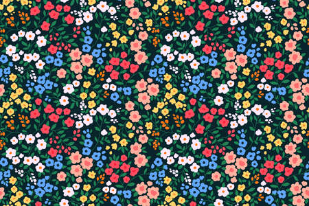 Floral pattern. Pretty flowers on black background. Printing with small colorful flowers. Ditsy print. Seamless vector texture. Spring bouquet.