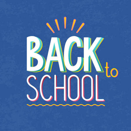 Vector illustration of text sign -back to school - on blue texture background. Lettering, typography. For School autumn sale, presentation, 1 September template, web.  イラスト・ベクター素材