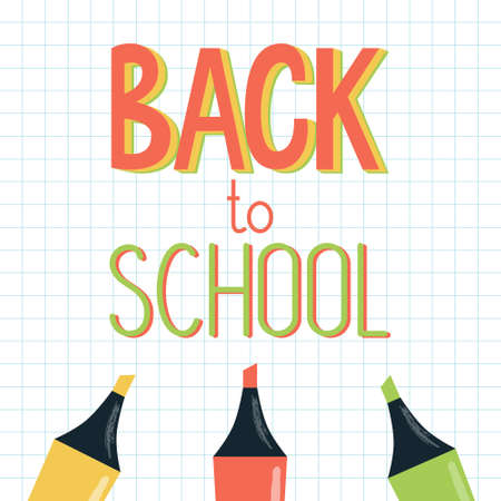 Vector illustration of a welcome sign - Back to school - made with markers or highlighters on squared notebook page. For school autumn sale, banner, presentation, web template.  イラスト・ベクター素材