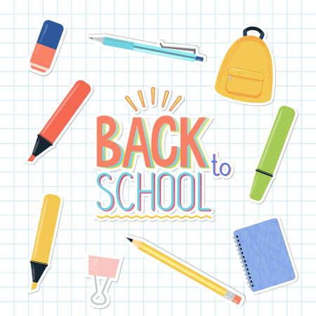 Ensemble vectoriel d'autocollants de fournitures scolaires et d'études sur la page de cahier carré. Sac à dos, stylo, crayon, surligneurs colorés, marqueurs, cahier, gomme, pince-notes. Retour au signe de la bannière de l'école. Vecteurs