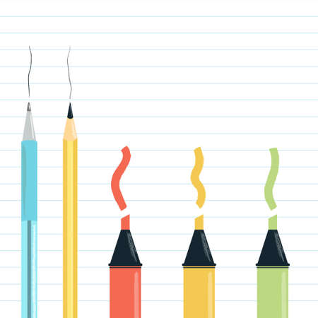 Vector Illustration of school or office supplies - pen, pencil and red, green and yellow markers or highlighter. With colour  swatches on lined ruled notebook piece of paper. For School autumn sale.