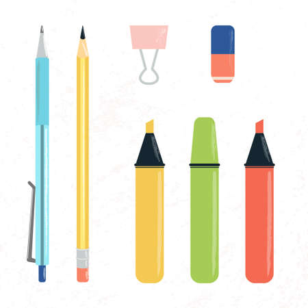 Vector illustration set of school, office or study supplies on light texture background. Pen, pencil, colorful highlighters and markers, rubber, binder clip. For back to school sale, presentation  イラスト・ベクター素材
