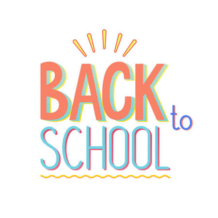 Vector illustration of back to school banner design, bright colors and elements. For School autumn sale, presentation, 1 September template, web.