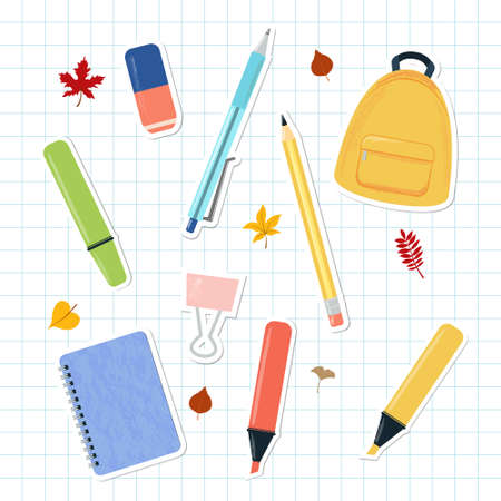 Vector illustration set of school and study supplies and stationary stickers on squared notebook page. Autumn leaves, backpack, pen, pencil, colorful liner, marker, notebook, rubber, binder clip. For