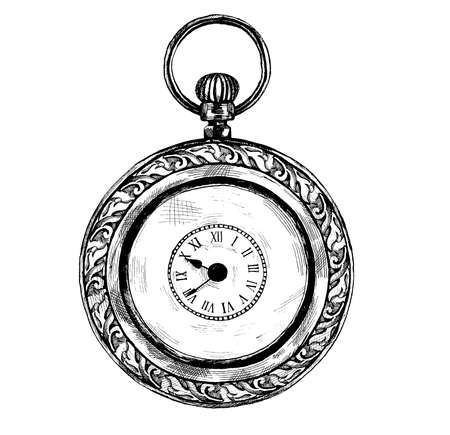 Vector black and white detailed ink hand drawn illustration or logo of antique, vintage, old fashioned clock or pocket watches, isolated on white background.