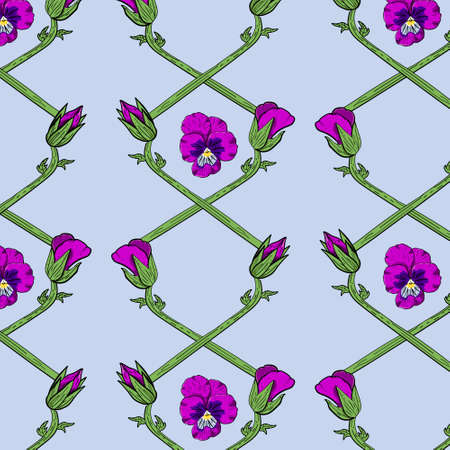 Colorful floral pattern with pansy flowers Stock fotó - 155875726