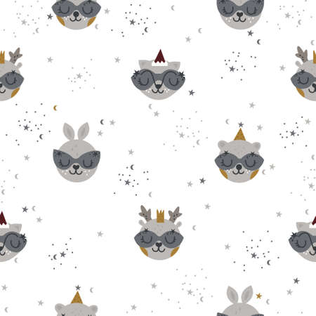 Christmas seamless pattern with animals 일러스트