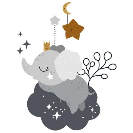 Celestial card with baby elephant and moon Ilustracja