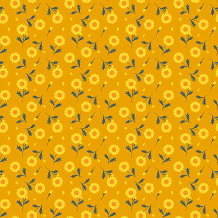 Seamless pattern with meadow flowers and leaves on yellow background. Ilustración de vector
