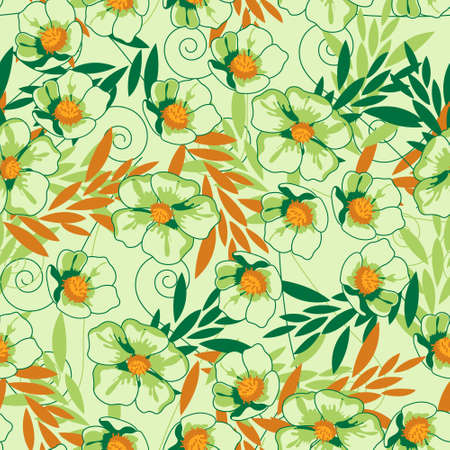 Vector seamless pattern with hand-drawn flowers. Vector illustration