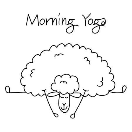 Funny sheep doing yoga, sketch for your design Ilustración de vector