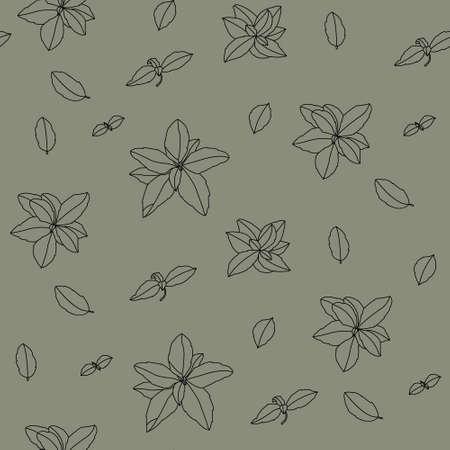 Basil Seamless Pattern. Italian herbs.A sprig of marjoram. Basil is a fragrant and fragrant seasoning. Hand-drawn illustration.