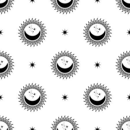 Moon, Sun and Stars. Seamless background. Vector illustration.