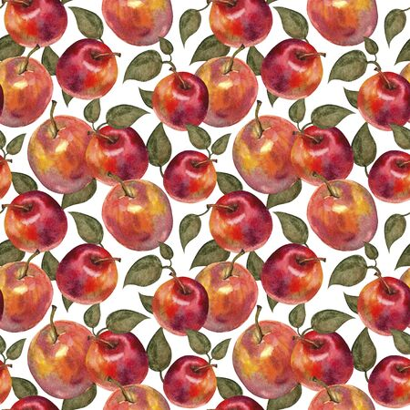 Fruit seamless pattern with apples. Watercolor illustration. Imagens