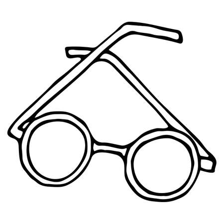 Vector isolated element, round-rimmed glasses. Hand drawn doodle.
