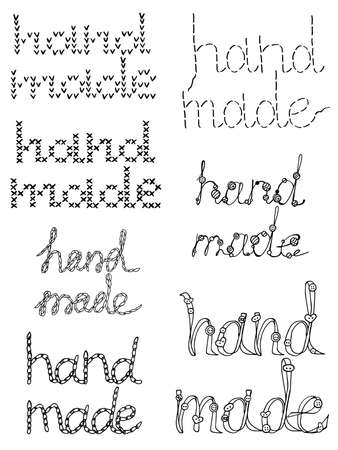 Set vector isolated element. Hand drawn doodle. Illustration with lettering Hand made. Illusztráció