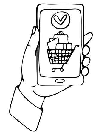 Vector isolated element. The hand holding the phone. Online shopping