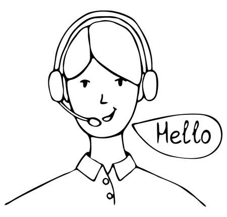 Vector isolated element. Girl dispatcher. The girl says - Hello. Home delivery.