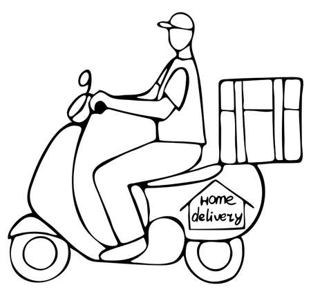Vector isolated element. Courier with an order on a moped. Home delivery.