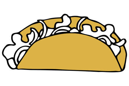 Vector isolated element. Illustration with takeaway food. Logo for the fast food menu. Hand drawn doodle. Taco