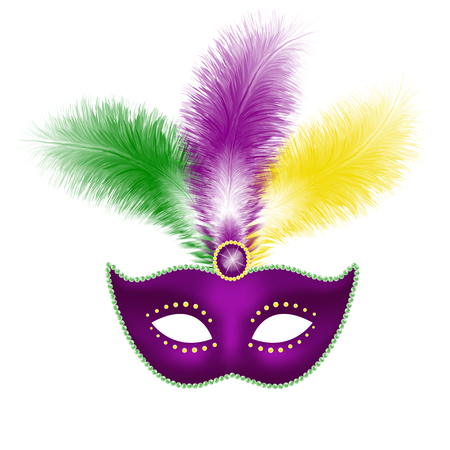 venetian mask: mask with feathers isolated on white.