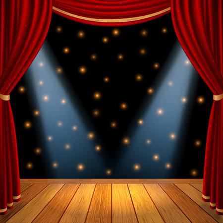 cortinas: Etapa escena teatral vacío con cortinas cortinas rojas y piso de madera de color marrón con el proyector dramático en el centro, inventario gráfico ilustración