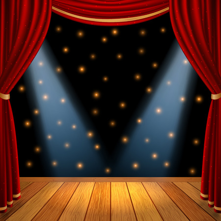 Empty theatrical scene stage with red curtains drapes and brown wooden floor with dramatic spotlight in the center, stock graphic illustration