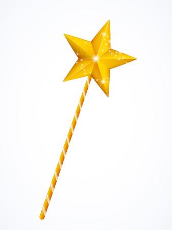 magia: Hadas varita mágica con la estrella aislada en el fondo blanco, ilustración vectorial