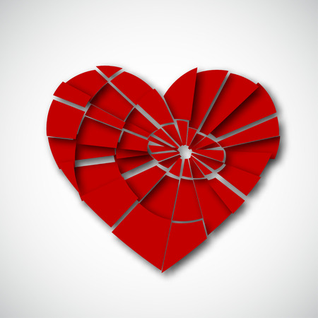 damaged: Broken heart isolated on white background, stock vector graphic illustration Illustration