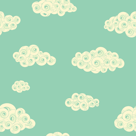 Retro seamless pattern with spiral clouds. Endless texture can be used for filling any contours, wallpaper, web page background, cards, gift wrap, surface textures