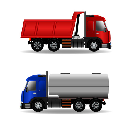 Cargo trucks isolated on white, stock vector graphic illustration
