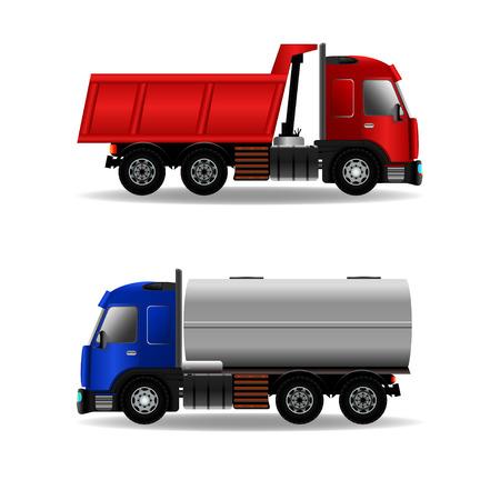 Cargo vrachtwagens geïsoleerd op wit, stock vector grafische illustratie
