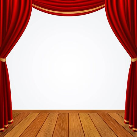 Empty stage with red curtains drapes and brown wooden floor