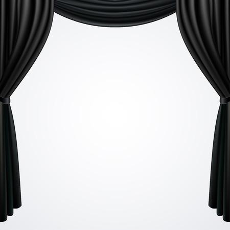 Black curtains drapes isolated on white background Çizim