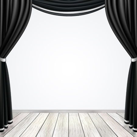 Empty stage with black curtains drapes and light wooden floor, vector illustration