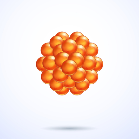 Orange abstract 3d spheres, vector graphic illustration