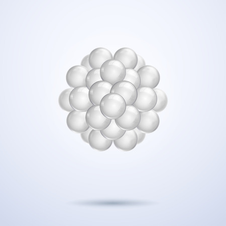Silver white abstract 3d spheres, stock vector graphic illustration