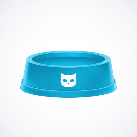 Bol de nourriture pour chat bleu vide plat isolé sur fond blanc, illustration graphique vectorielle stock Vecteurs