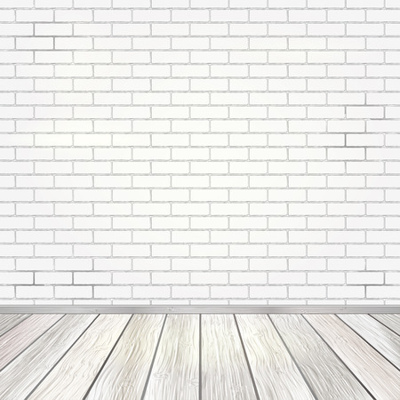 Empty room interior with white brick wall and light wooden floor background, vector illustration