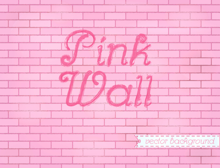 Pink rose grunge brick wall background backdrop, stock vector graphic illustration Ilustrace