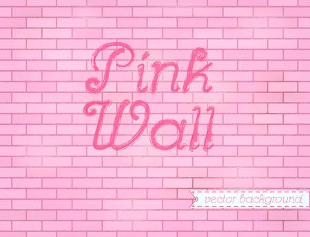Pink rose grunge brick wall background backdrop, stock vector graphic illustration Illustration